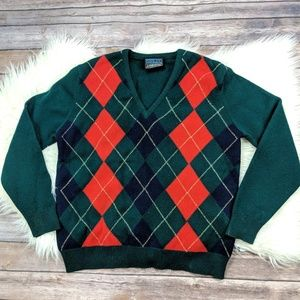 Land's End Lambswool Argyle V Neck Sweater